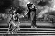 Fantasy Angel Art Posters - Surreal Fantasy Angels Weeping Black and White  Poster by Kathy Fornal