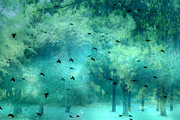 Surreal Fantasy Aqua Teal Woodlands Trees With Ravens Flying Print by Kathy Fornal