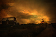 Red Barn Prints Posters - Surreal Fantasy Barn Sunset Nature Farm Landscape Poster by Kathy Fornal