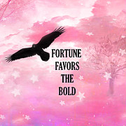 Inspirational Quotes Photos - Surreal Fantasy Black Raven Crow Typography  by Kathy Fornal