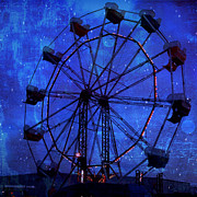 Ferris Wheel Night Photographs Posters - Surreal Fantasy Blue Ferris Wheel Starry Night  Poster by Kathy Fornal