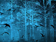 Gothic Trees Prints - Surreal Fantasy Blue Woodlands Ravens and Stars - Fairytale Fantasy Blue Nature With Flying Ravens Print by Kathy Fornal