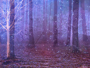Haunting Woodlands Posters - Surreal Fantasy Blue Woodlands With Stars Poster by Kathy Fornal