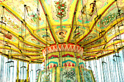 Summer Festival Art Prints - Surreal Fantasy Carnival Festival Fair Yellow Ferris Wheel Swing Ride  Print by Kathy Fornal