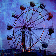 Gothic Dark Photography Photos - Surreal Fantasy Dark Blue Ferris Wheel Night Sky by Kathy Fornal