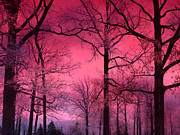 Dark Pink Posters - Surreal Fantasy Dark Pink Forest Woodlands Trees With Dark Pink Haunting Sky - Fantasy Pink Nature  Poster by Kathy Fornal