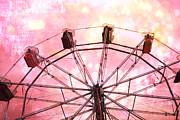 Pink Photos Prints - Surreal Fantasy Dreamy Pink and Yellow Carnival Ferris Wheel Ride Print by Kathy Fornal