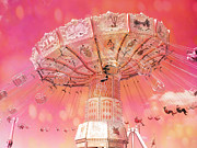 Ferris Wheels Posters - Surreal Fantasy Ferris Wheel Carnival Art Hot Pink Poster by Kathy Fornal