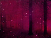 Dark Pink Photos - Surreal Fantasy Forest Woodlands With Birds by Kathy Fornal