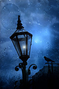 Ravens And Crows Photography Posters - Surreal Fantasy Gothic Blue Night Lantern With Ravens - Starry Night Surreal Lantern Blue Moon Poster by Kathy Fornal