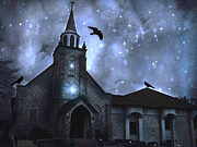 Ravens With Church Canvas Photos Prints - Surreal Fantasy Gothic Church With Ravens Flying Print by Kathy Fornal