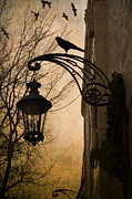 Street Lantern Framed Prints - Surreal Fantasy Gothic Lantern With Ravens Framed Print by Kathy Fornal