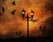 Lighted Street Prints - Surreal Fantasy Gothic Night Lanterns Ravens  Print by Kathy Fornal