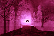 Dark Pink Framed Prints - Surreal Fantasy Gothic Raven Crow Nature Framed Print by Kathy Fornal
