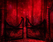 Haunting Woodlands Posters - Surreal Fantasy Gothic Red Forest Crow On Gate Poster by Kathy Fornal