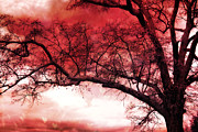 Surreal Fantasy Trees Landscape Prints - Surreal Fantasy Gothic Red Tree Landscape Print by Kathy Fornal