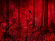 Crows In Trees Posters - Surreal Fantasy Gothic Red Woodlands Raven Trees Poster by Kathy Fornal