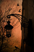 Lighted Street Framed Prints - Surreal Fantasy Gothic Street Lantern With Crows and Ravens Framed Print by Kathy Fornal