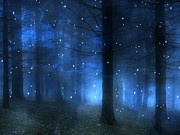 Surreal Fantasy Haunting Blue Sparkling Woodlands Forest Trees With Stars - Starlit Fantasy Nature Print by Kathy Fornal