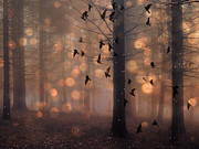 Surreal Nature And Trees Prints - Surreal Fantasy Haunting Woodlands and Birds Print by Kathy Fornal