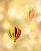 Balloon Art Posters - Surreal Fantasy Hot Air Balloon Dreamy Yellow Balloon Festival Art Poster by Kathy Fornal