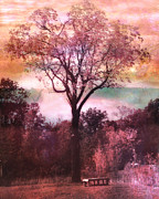 Fantasy Dreamy Oak Trees Posters - Surreal Fantasy Nature Tree Pink Landscape Poster by Kathy Fornal
