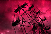 Hot Pink Ferris Wheel Print Prints - Surreal Fantasy Pink Ferris Wheel With Stars Print by Kathy Fornal