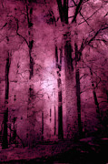 Haunting Woodlands Posters - Surreal Fantasy Pink Forest Woodlands Poster by Kathy Fornal