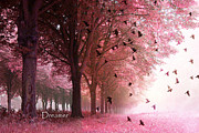 Nature Photographs Posters - Surreal Fantasy Pink Nature Forest Woods With Birds Flying  Poster by Kathy Fornal