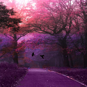 Haunting Woodlands Posters - Surreal Fantasy Pink Purple Nature Woodlands  Poster by Kathy Fornal