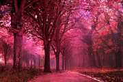 Haunting Woodlands Posters - Surreal Fantasy Pink Red Autumn Fall Woodlands Poster by Kathy Fornal