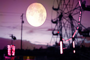 Ferris Wheel Night Photographs Posters - Surreal Fantasy Purple Night Ferris Wheel Full Moon  Poster by Kathy Fornal