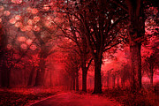 Haunting Woodlands Posters - Surreal Fantasy Red Forest Woodlands Nature Poster by Kathy Fornal
