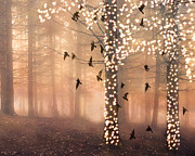 Haunting Surreal Trees Posters - Surreal Fantasy Sparkling Lights Birds and Trees Poster by Kathy Fornal