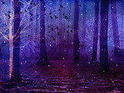 Surreal Nature And Trees Prints - Surreal Fantasy Starry Night Haunting Woodlands  Print by Kathy Fornal