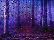 Surreal Nature Photos Posters - Surreal Fantasy Starry Night Haunting Woodlands - Purple Blue Fantasy Nature Poster by Kathy Fornal
