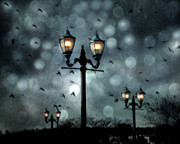 Night Scenes Posters - Surreal Fantasy Street Lamps Dreamy Flying Ravens Haunting Night Lights With Bokeh Poster by Kathy Fornal