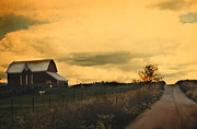 Red Barn Prints Posters - Surreal Farm Yellow Sky Barn Landscape Poster by Kathy Fornal