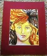 Matting Originals - Surreal Female Portrait and Lightning Bolt by Ann Warder