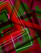 Colorful Digital Art - Surreal Geometry in Green and Red  by Mario  Perez