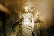 Spirits Photos - Surreal Gothic Angel Art Photography - Spiritual Ethereal Sepia Angel With Black Raven  by Kathy Fornal