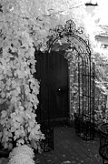 Infrared Nature Art Prints Photos - Surreal Gothic Black and White Infrared Doorway by Kathy Fornal