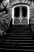 Surreal Art Photo Prints - Surreal Gothic Black White Charleston Door With Gargoyle Print by Kathy Fornal