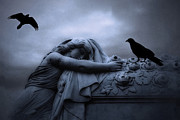 Photography Prints Prints - Surreal Gothic Cemetery Female Mourner Draped Over Coffin With Ravens - Surreal Blue Cemetery Art Print by Kathy Fornal