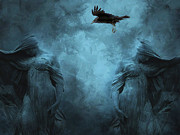 Surreal Art Photo Prints - Surreal Gothic Cemetery Mourners and Raven Print by Kathy Fornal