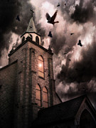 Haunted Church With Storm Clouds Posters - Surreal Gothic Church Storm and Ravens Poster by Kathy Fornal
