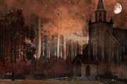 Church Photos Prints - Surreal Gothic Church With Full Moon and Stars Print by Kathy Fornal
