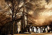 Ravens And Crows Photography Photos - Surreal Gothic Church With Storm Skies and Birds Flying by Kathy Fornal