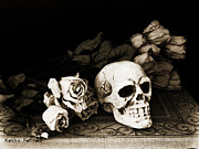Dark Sepia Posters - Surreal Gothic Dark Sepia Roses and Skull  Poster by Kathy Fornal