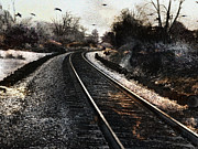 Haunting Art Photos - Surreal Gothic Dark Train Railroad Tracks With Flying Ravens by Kathy Fornal